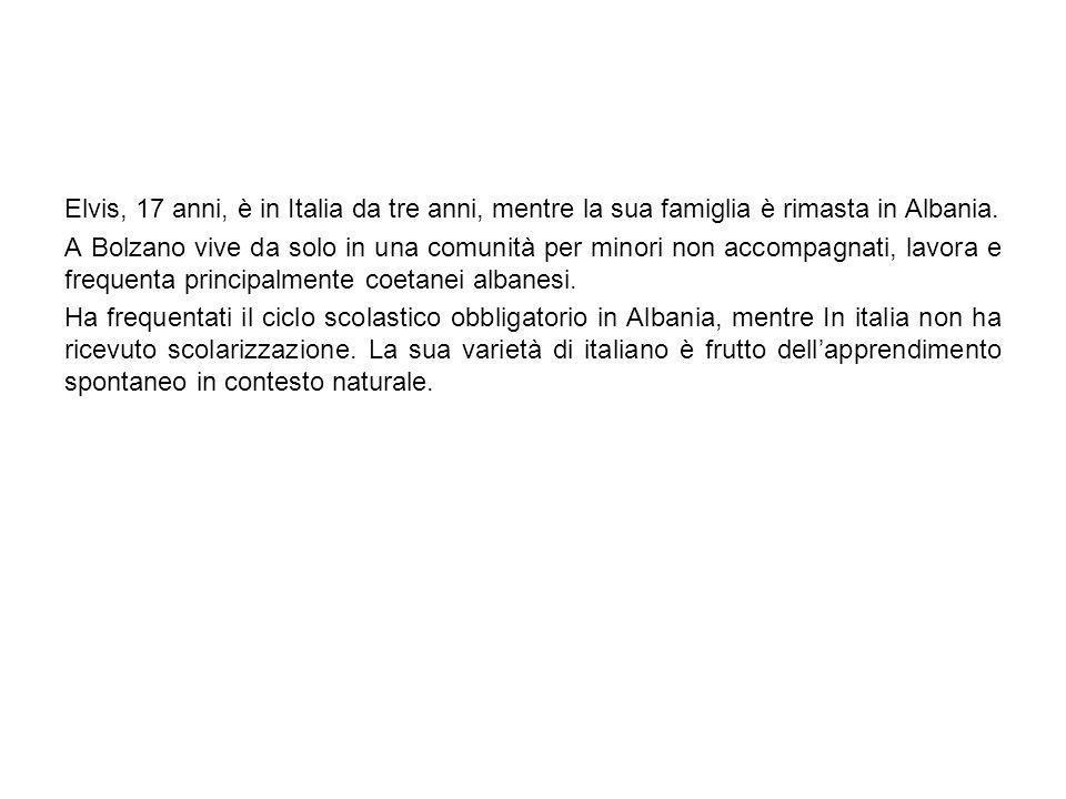 Elvis, 17 anni, è in Italia da tre anni, mentre la sua famiglia è rimasta in Albania. A Bolzano vive da solo in una comunità per minori non accompagna