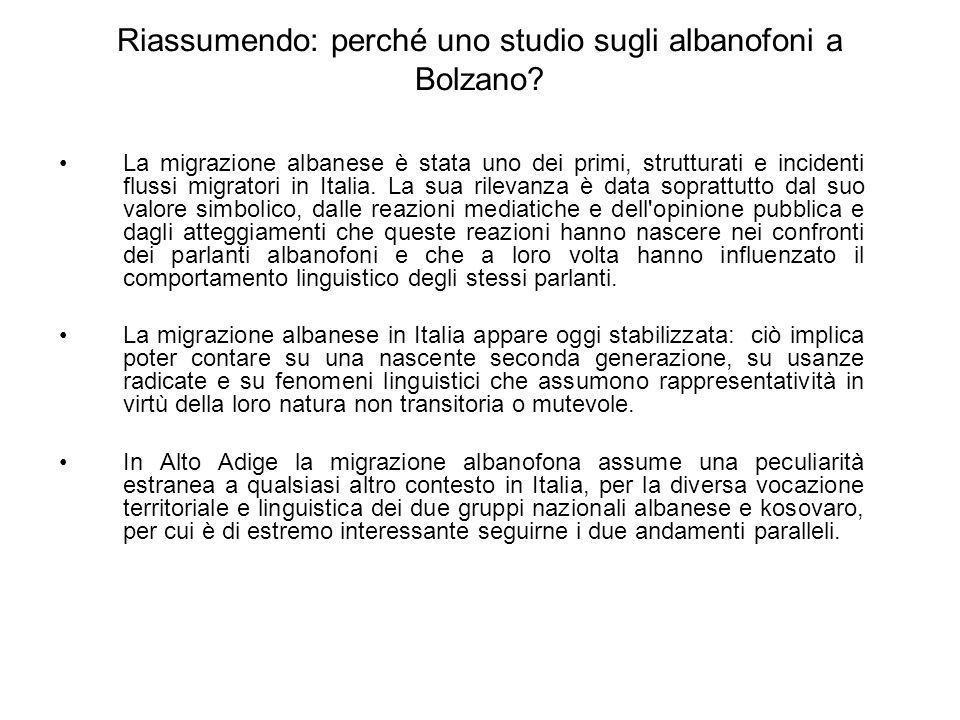 Riassumendo: perché uno studio sugli albanofoni a Bolzano? La migrazione albanese è stata uno dei primi, strutturati e incidenti flussi migratori in I
