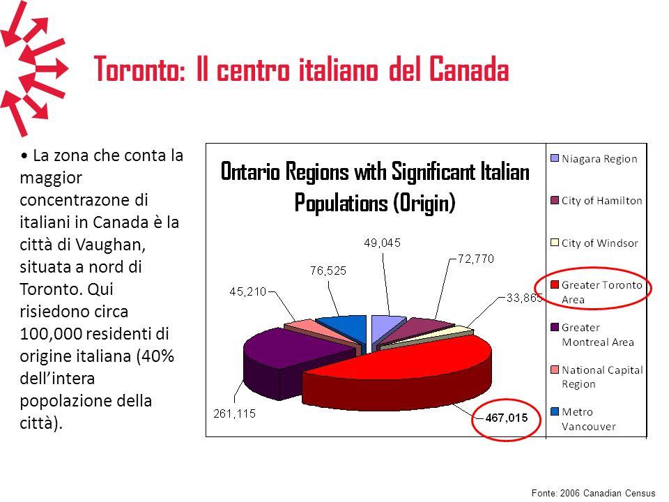 Toronto: Il centro italiano del Canada La zona che conta la maggior concentrazone di italiani in Canada è la città di Vaughan, situata a nord di Toron