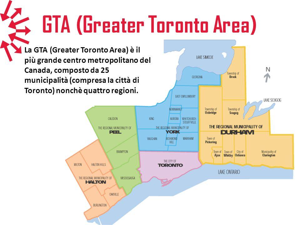 GTA (Greater Toronto Area) La GTA (Greater Toronto Area) è il più grande centro metropolitano del Canada, composto da 25 municipalità (compresa la cit
