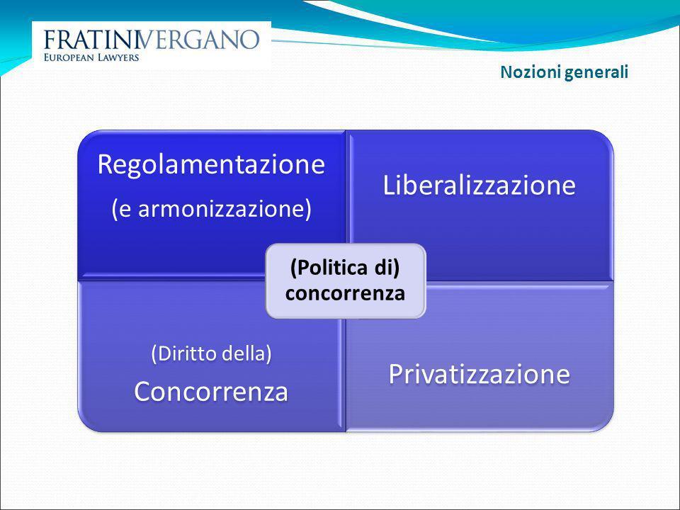 Regolamentazione Norme che fissano, in via generale, le regole del gioco e incidono sul funzionamento del mercato; incluse norme (in via di principio transitorie) sul comportamento degli operatori (e.g.
