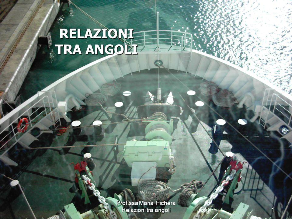 Prof.ssa Maria Fichera Relazioni tra angoli2 Angolo di Prora vera Nv Asse longitudinale Pv