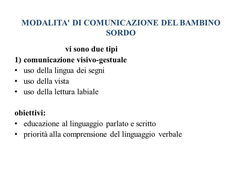 MODALITA' DI COMUNICAZIONE DEL BAMBINO SORDO vi sono due tipi 1)comunicazione visivo-gestuale uso della lingua dei segni uso della vista uso della let