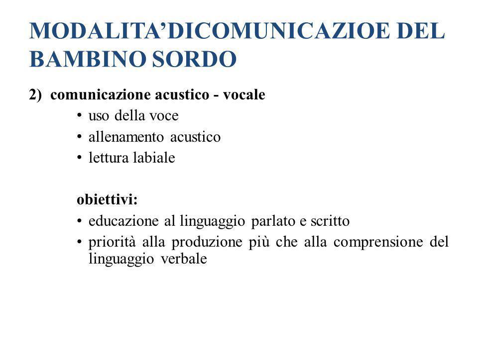 MODALITADICOMUNICAZIOE DEL BAMBINO SORDO 2) comunicazione acustico - vocale uso della voce allenamento acustico lettura labiale obiettivi: educazione
