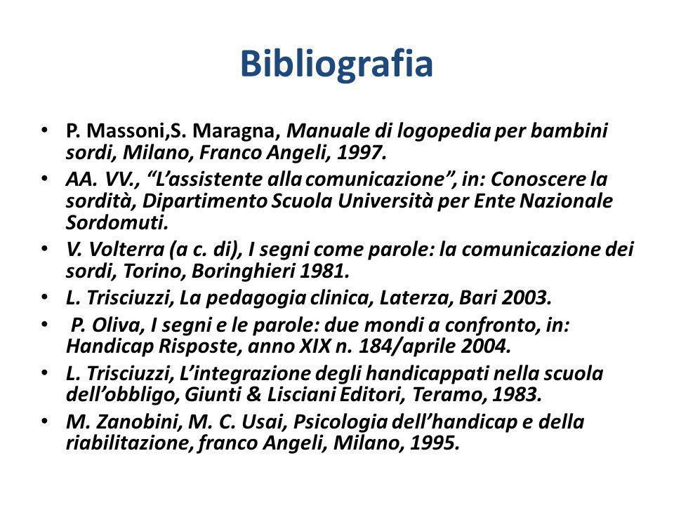 Bibliografia P. Massoni,S. Maragna, Manuale di logopedia per bambini sordi, Milano, Franco Angeli, 1997. AA. VV., Lassistente alla comunicazione, in: