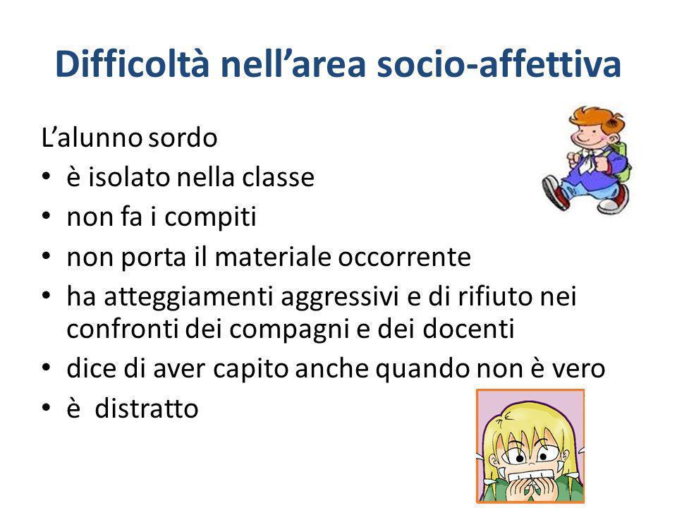 Difficoltà nellarea socio-affettiva Lalunno sordo è isolato nella classe non fa i compiti non porta il materiale occorrente ha atteggiamenti aggressiv