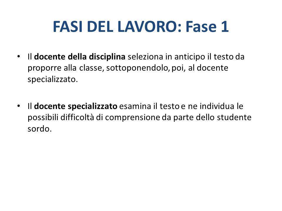 FASI DEL LAVORO: Fase 1 Il docente della disciplina seleziona in anticipo il testo da proporre alla classe, sottoponendolo, poi, al docente specializz