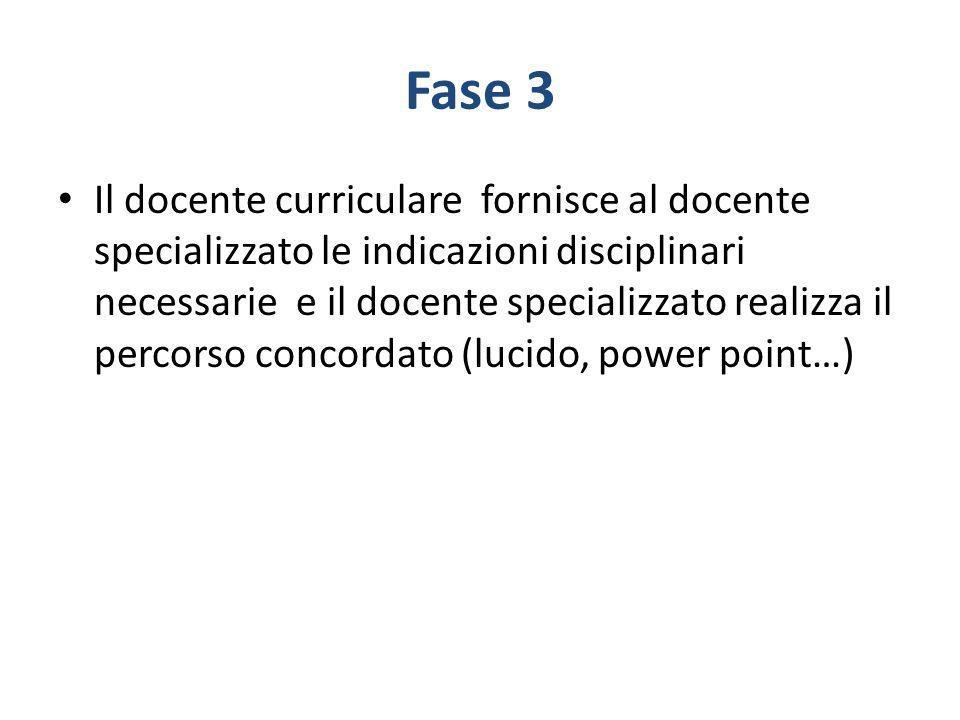 Fase 3 Il docente curriculare fornisce al docente specializzato le indicazioni disciplinari necessarie e il docente specializzato realizza il percorso