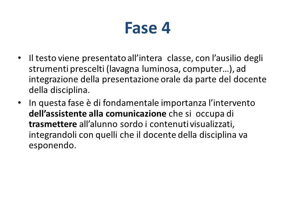 Fase 4 Il testo viene presentato allintera classe, con lausilio degli strumenti prescelti (lavagna luminosa, computer…), ad integrazione della present