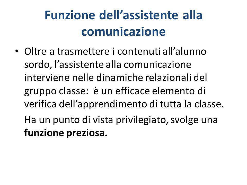 Funzione dellassistente alla comunicazione Oltre a trasmettere i contenuti allalunno sordo, lassistente alla comunicazione interviene nelle dinamiche