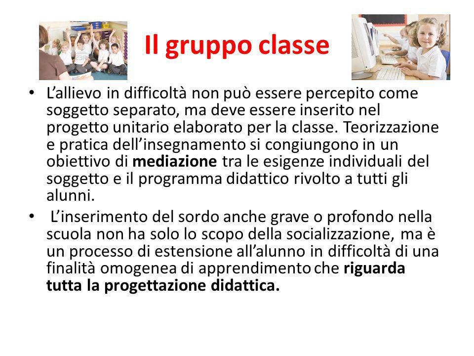 Il gruppo classe Lallievo in difficoltà non può essere percepito come soggetto separato, ma deve essere inserito nel progetto unitario elaborato per l