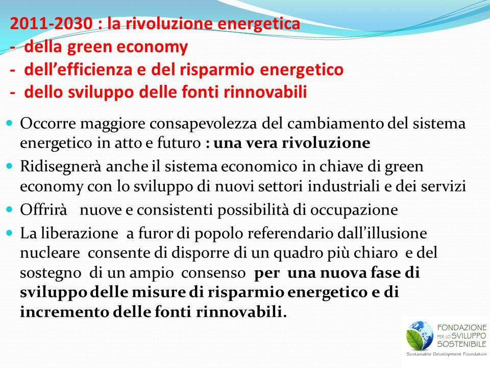 2011-2030 : la rivoluzione energetica - della green economy - dellefficienza e del risparmio energetico - dello sviluppo delle fonti rinnovabili Occor