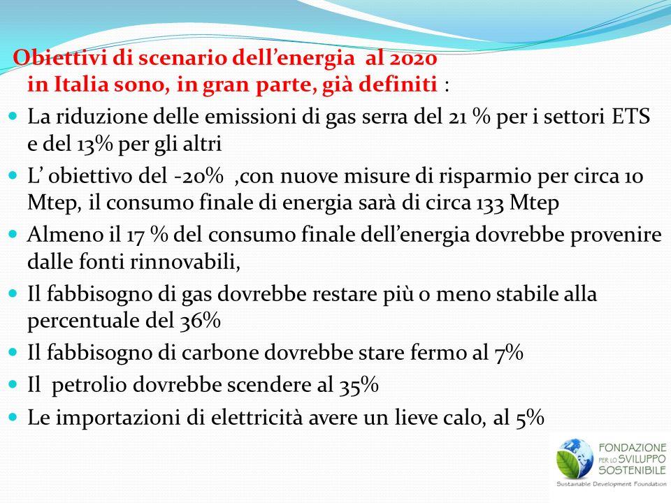 Obiettivi di scenario dellenergia al 2020 in Italia sono, in gran parte, già definiti : La riduzione delle emissioni di gas serra del 21 % per i setto