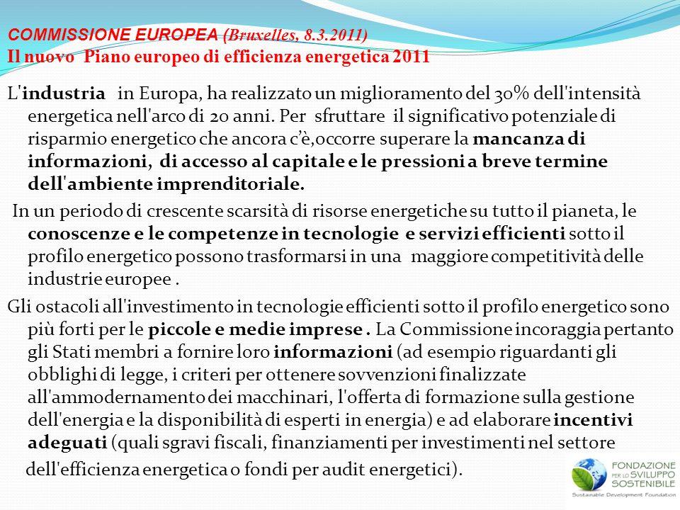 L'industria in Europa, ha realizzato un miglioramento del 30% dell'intensità energetica nell'arco di 20 anni. Per sfruttare il significativo potenzial