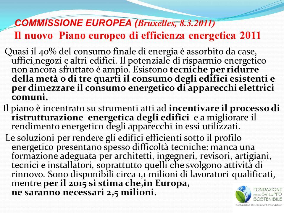 COMMISSIONE EUROPEA ( Bruxelles, 8.3.2011) Il nuovo Piano europeo di efficienza energetica 2011 Quasi il 40% del consumo finale di energia è assorbito