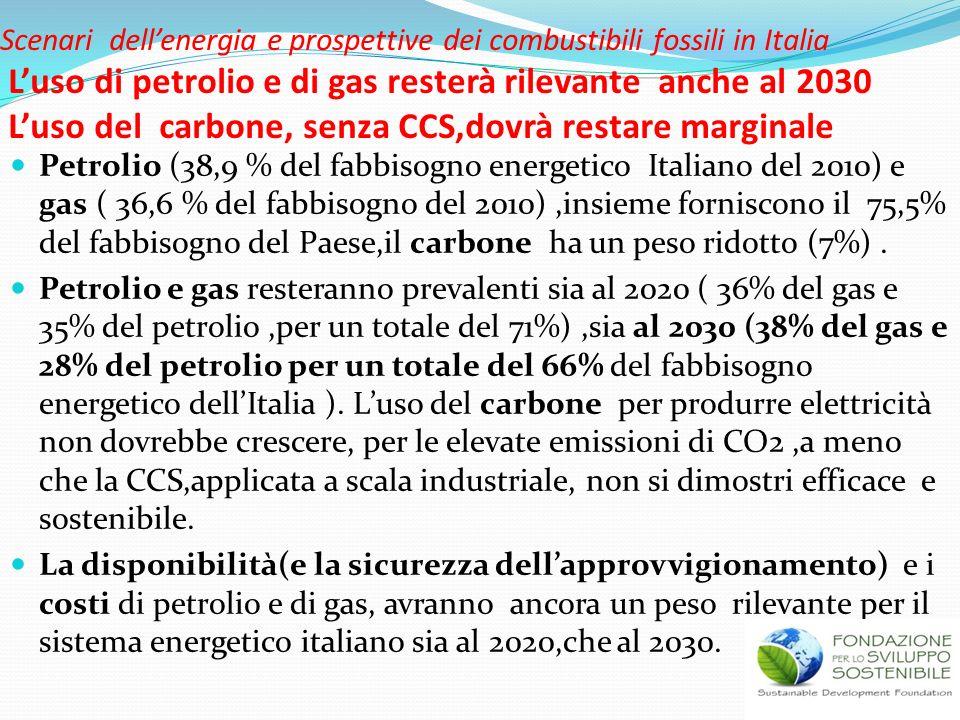 Scenari dellenergia e prospettive dei combustibili fossili in Italia Luso di petrolio e di gas resterà rilevante anche al 2030 Luso del carbone, senza