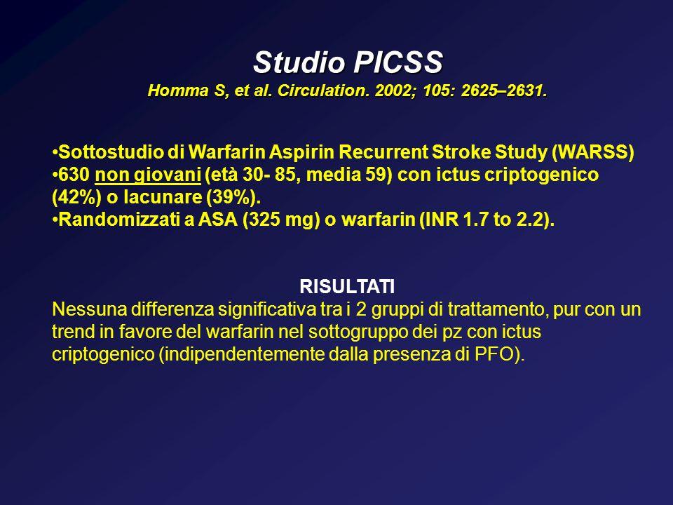Studio PICSS Homma S, et al. Circulation. 2002; 105: 2625–2631. Sottostudio di Warfarin Aspirin Recurrent Stroke Study (WARSS) 630 non giovani (età 30