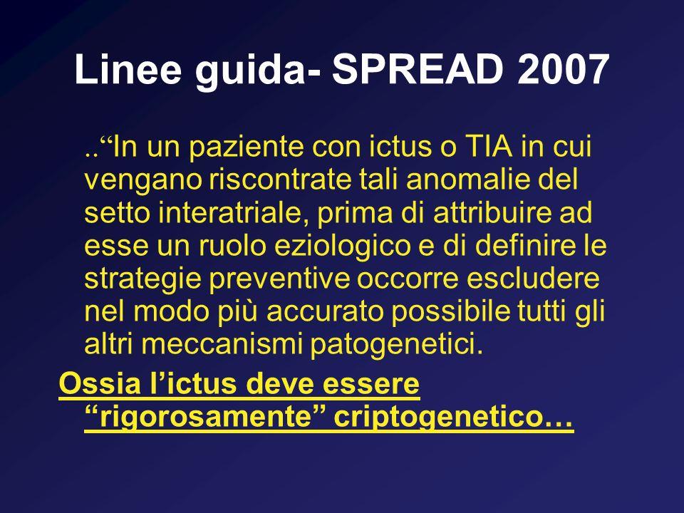 Linee guida- SPREAD 2007.. In un paziente con ictus o TIA in cui vengano riscontrate tali anomalie del setto interatriale, prima di attribuire ad esse