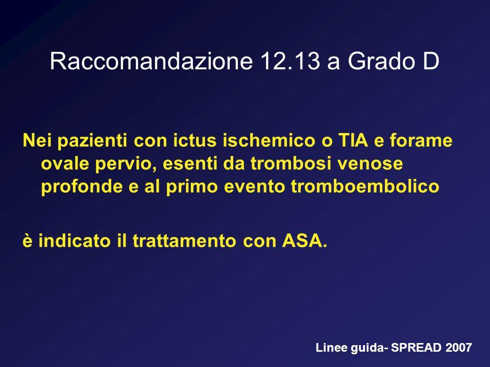 Raccomandazione 12.13 a Grado D Nei pazienti con ictus ischemico o TIA e forame ovale pervio, esenti da trombosi venose profonde e al primo evento tro