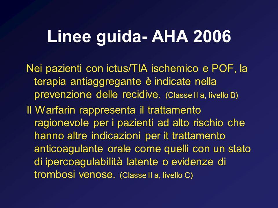 Linee guida- AHA 2006 Nei pazienti con ictus/TIA ischemico e POF, la terapia antiaggregante è indicate nella prevenzione delle recidive. (Classe II a,