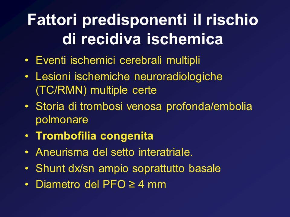 Fattori predisponenti il rischio di recidiva ischemica Eventi ischemici cerebrali multipli Lesioni ischemiche neuroradiologiche (TC/RMN) multiple cert