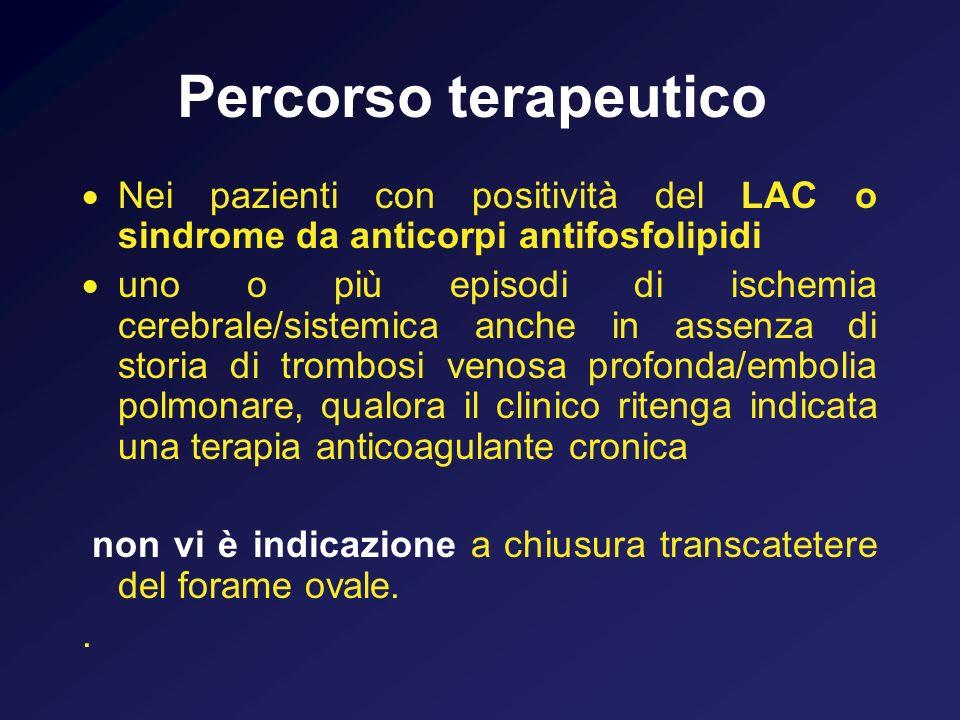 Percorso terapeutico Nei pazienti con positività del LAC o sindrome da anticorpi antifosfolipidi uno o più episodi di ischemia cerebrale/sistemica anc