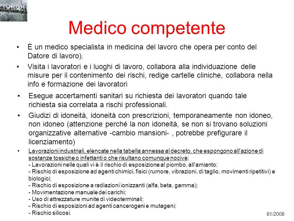 Medico competente È un medico specialista in medicina del lavoro che opera per conto del Datore di lavoro). Visita i lavoratori e i luoghi di lavoro,