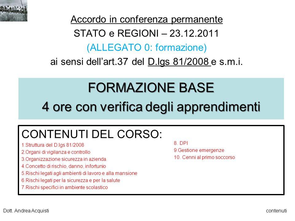 Accordo in conferenza permanente STATO e REGIONI – 23.12.2011 (ALLEGATO 0: formazione) ai sensi dellart.37 del D.lgs 81/2008 e s.m.i. FORMAZIONE BASE