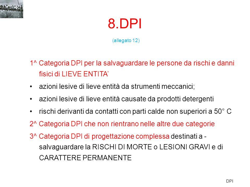 8.DPI DPI (allegato 12) 1^ Categoria DPI per la salvaguardare le persone da rischi e danni fisici di LIEVE ENTITA azioni lesive di lieve entità da str
