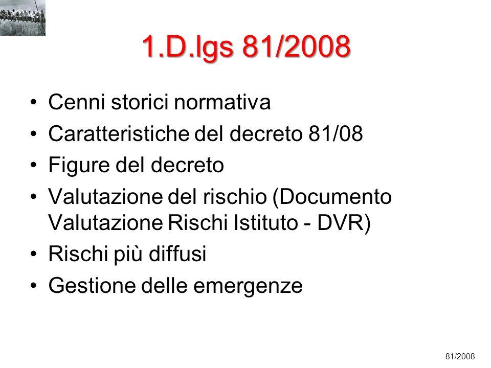 1.D.lgs 81/2008 Cenni storici normativa Caratteristiche del decreto 81/08 Figure del decreto Valutazione del rischio (Documento Valutazione Rischi Ist