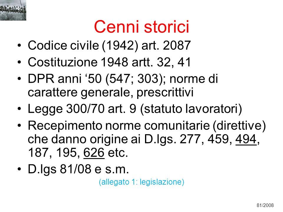 Cenni storici Codice civile (1942) art. 2087 Costituzione 1948 artt. 32, 41 DPR anni 50 (547; 303); norme di carattere generale, prescrittivi Legge 30