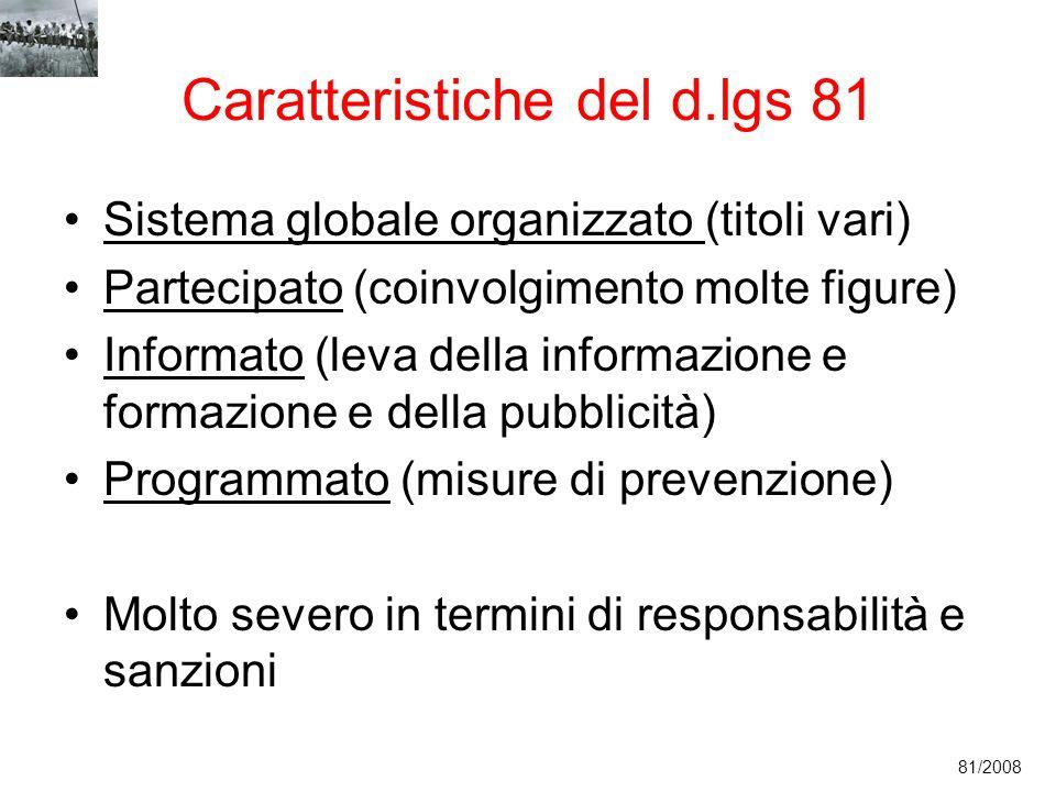 Caratteristiche del d.lgs 81 Sistema globale organizzato (titoli vari) Partecipato (coinvolgimento molte figure) Informato (leva della informazione e