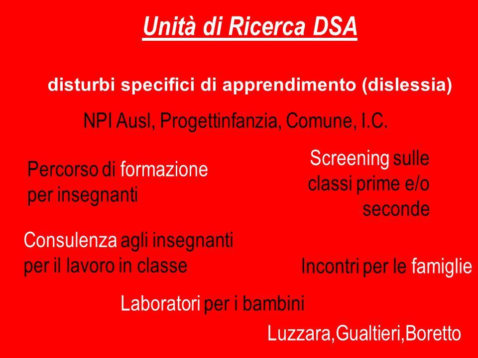 Unità di Ricerca DSA disturbi specifici di apprendimento (dislessia) Percorso di formazione per insegnanti Screening sulle classi prime e/o seconde Co