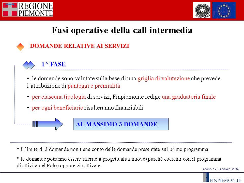 Torino 19 Febbraio 2010 Fasi operative della call intermedia 1^ FASE 1^ FASE DOMANDE RELATIVE AI SERVIZI DOMANDE RELATIVE AI SERVIZI le domande sono v