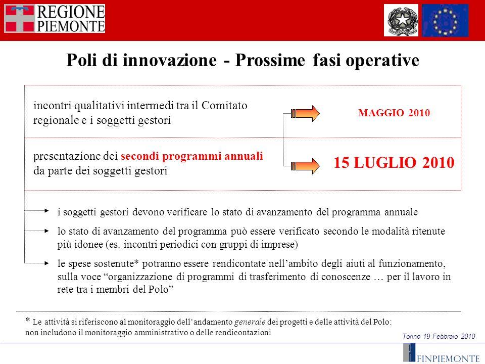 Torino 19 Febbraio 2010 Poli di innovazione - Prossime fasi operative incontri qualitativi intermedi tra il Comitato regionale e i soggetti gestori pr