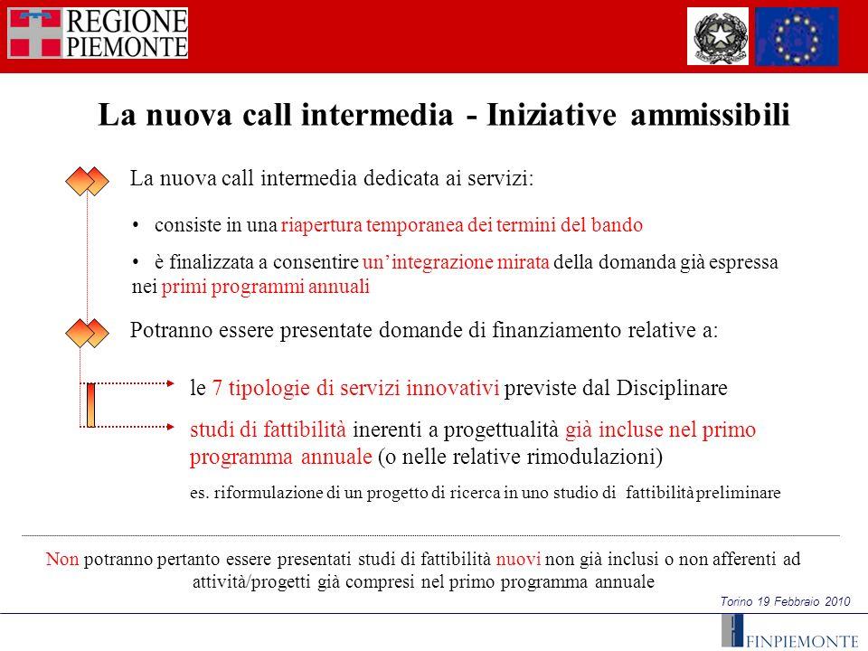 Torino 19 Febbraio 2010 La nuova call intermedia - Iniziative ammissibili consiste in una riapertura temporanea dei termini del bando è finalizzata a