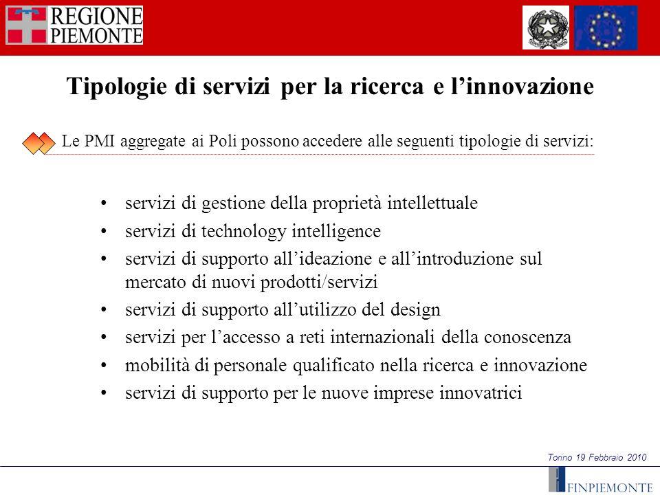 Torino 19 Febbraio 2010 Tipologie di servizi per la ricerca e linnovazione servizi di gestione della proprietà intellettuale servizi di technology int