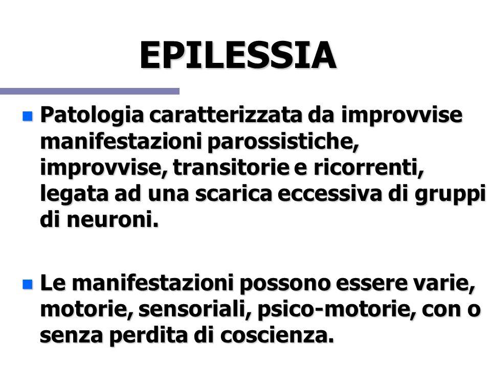 EPILESSIA Patologia caratterizzata da improvvise manifestazioni parossistiche, improvvise, transitorie e ricorrenti, legata ad una scarica eccessiva d