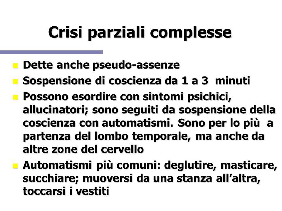 Crisi parziali complesse Dette anche pseudo-assenze Dette anche pseudo-assenze Sospensione di coscienza da 1 a 3 minuti Sospensione di coscienza da 1