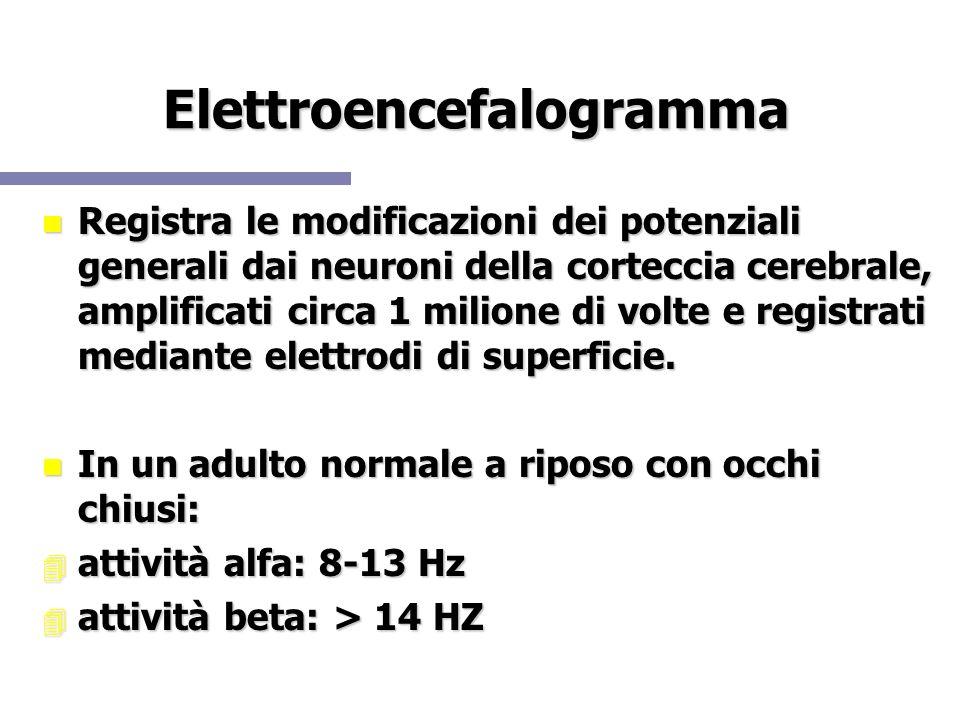 Elettroencefalogramma Registra le modificazioni dei potenziali generali dai neuroni della corteccia cerebrale, amplificati circa 1 milione di volte e