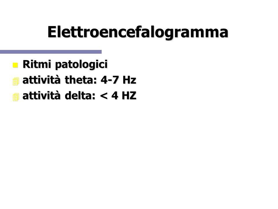 Elettroencefalogramma Ritmi patologici Ritmi patologici attività theta: 4-7 Hz attività theta: 4-7 Hz attività delta: < 4 HZ attività delta: < 4 HZ