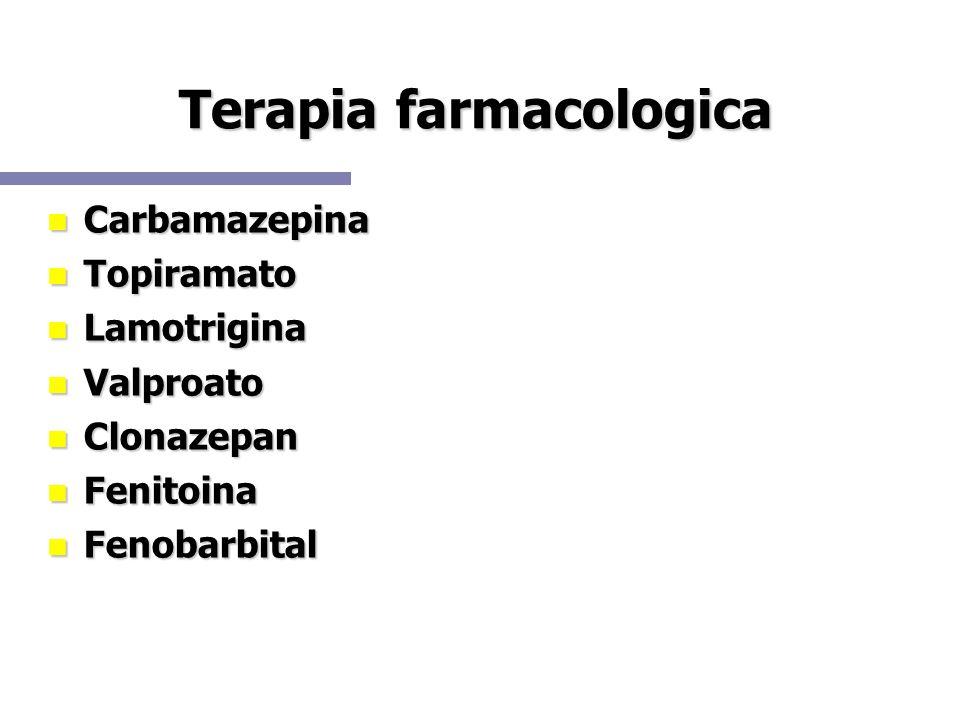 Terapia farmacologica Carbamazepina Carbamazepina Topiramato Topiramato Lamotrigina Lamotrigina Valproato Valproato Clonazepan Clonazepan Fenitoina Fe