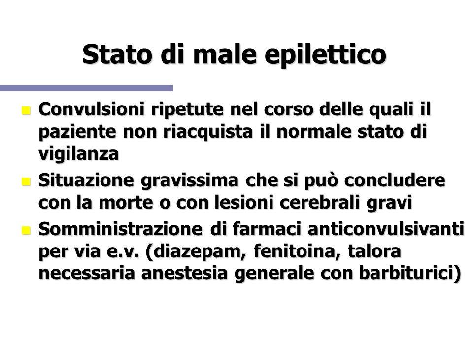 Stato di male epilettico Convulsioni ripetute nel corso delle quali il paziente non riacquista il normale stato di vigilanza Convulsioni ripetute nel