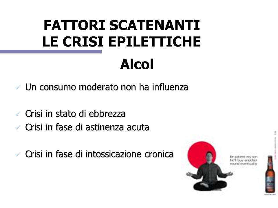 Alcol Un consumo moderato non ha influenza Un consumo moderato non ha influenza Crisi in stato di ebbrezza Crisi in stato di ebbrezza Crisi in fase di