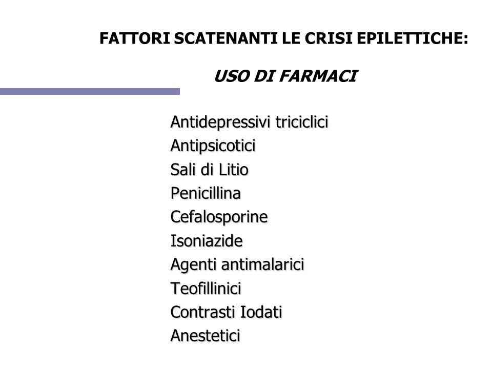 FATTORI SCATENANTI LE CRISI EPILETTICHE: USO DI FARMACI Antidepressivi triciclici Antipsicotici Sali di Litio PenicillinaCefalosporineIsoniazide Agent
