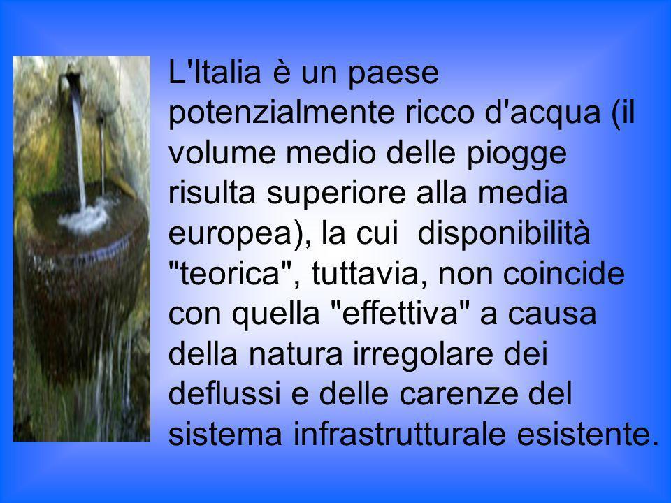 L'Italia è un paese potenzialmente ricco d'acqua (il volume medio delle piogge risulta superiore alla media europea), la cui disponibilità
