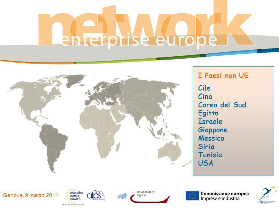 Genova, 9 marzo 2011 I Paesi non UE Cile Cina Corea del Sud Egitto Israele Giappone Messico Siria Tunisia USA