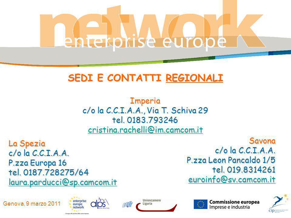 Genova, 9 marzo 2011 La Spezia c/o la C.C.I.A.A. P.zza Europa 16 tel. 0187.728275/64 laura.parducci@sp.camcom.it Imperia c/o la C.C.I.A.A., Via T. Sch