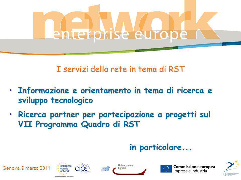 Genova, 9 marzo 2011 Informazione e orientamento in tema di ricerca e sviluppo tecnologicoInformazione e orientamento in tema di ricerca e sviluppo te