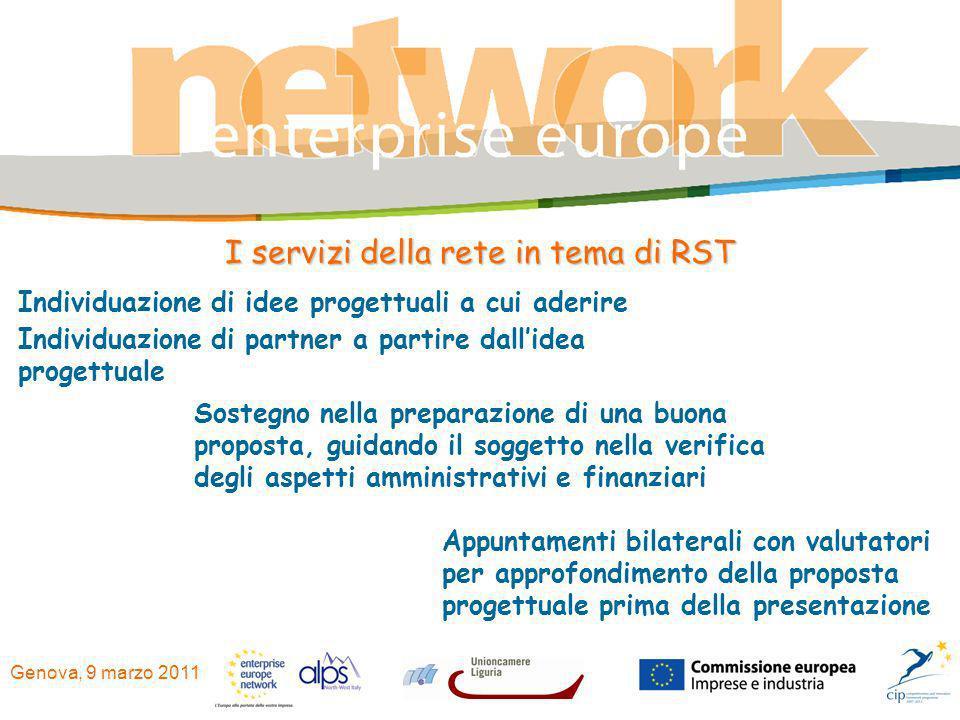 Genova, 9 marzo 2011 I servizi della rete in tema di RST Individuazione di idee progettuali a cui aderire Individuazione di partner a partire dallidea